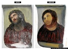 Elderly Woman's Hilarious Failed Attempt At Restoring A 19th Century Fresco In Borja, Spain