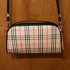 "Plaid bag 11x7.  2"" wide at bottom.  24"" bag drop.   Black faux leather trim.  1 zippered inner pocket. No stains.  Great condition.  Not auth.  No trades. Bags"