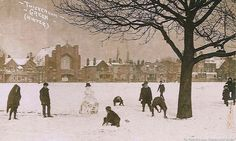 Snow on Twickenham Green - pre 1909 Vintage London, Old London, St Margaret, The Time Machine, Old Photographs, My Past, London Photos, Local History, Historical Photos
