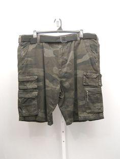 Men's Camouflage Cargo Shorts Size 44X12 SNDNSTA Straight Legs Belt 100% Cotton #SNDNSTA #Cargo