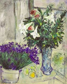 Lilies and blueberries - Marc ChagallRussian 1887-1985