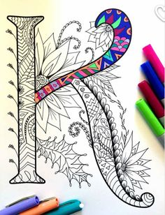 Letter K Zentangle Inspired by the font Harrington von DJPenscript (Favorite Fonts) Doodles Zentangles, Zentangle Patterns, Zen Doodle, Doodle Art, Mandala Art, Coloring Books, Coloring Pages, Letter K, Letter Writing