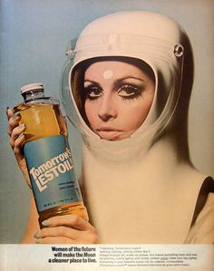 1960s space gal with some kind of cleaning product