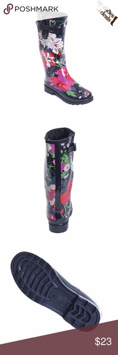 """Women Rose Garden Rubber Rain Boots RB-1528 Enjoy Rainy Weather in Stylish Ladies' Rain Boots! 100% Rubber, Faux Fur Lining and a Wedge. Whatever you Call Them- Wellies, Galoshes, Rain Boots, or Sluggers, Your Feet are Sure to Stay Dry While Exploring Puddles or Gardening. Run Half a size Large to Accommodate a Thick Sock. Not made for Wide Calf. Calf circumf. approx. 15"""" Forever Young Shoes Winter & Rain Boots"""