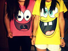 spongebob & patrick shirts. wish i had a best friend to share this with ..