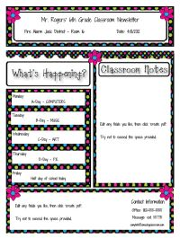 Classroom newsletter templates!  Just fill in the info and create a PDF. There are many different template styles on this site.