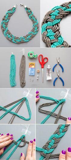 Woven Bead Statement Necklace – DIY. Just don't drop the strands! #Beading #Jewelry #Tutorials #collares #collaresbisuteria #collaresdebisuteria #bisuteria #bisuterias #pulseras #pendientes