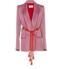 Satin Blazer | Moda Operandi (471.915 HUF) ❤ liked on Polyvore featuring outerwear, jackets, blazers, shawl collar blazer, satin jackets, shawl collar jacket, purple blazer jacket and blazer jacket