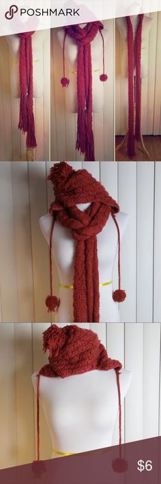 Burgundy knit scarf and hat Super long scarf and Pom Pom stocking hat. Well loved. Piling shown in photo. Sold as set or separate.   Maroon, wine, red Accessories Scarves & Wraps