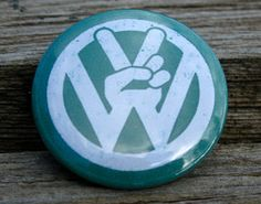 Vintage Style Volkswagen Peace Sign VW logo pinback button or magnet by bohemianapothecarium, $1.50