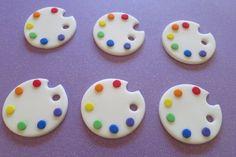 Art Palette -paint palette- Art Party fondant cupcake toppers