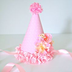 READY TO POST Girls Pink Boutique Birthday Party Hat - Photo Prop / 1st Birthday / Cake Smash - Flowers / Floral - Pink Ribon Ties