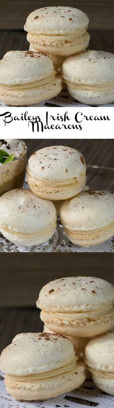 Baileys Irish Cream Macarons, a delicious French style macaron recipe with creamy Baileys Irish Cream filling.