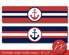 Cherry red and navy blue nautical water bottle labels, WA-152
