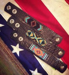 GS Beaded Leather Cuffs