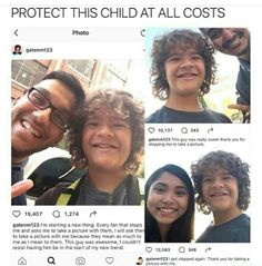 What a sweet kid (it's the actor Gaten Matarazzo from Stranger Things) I hope acting doesn't ruin him like it has done to other child actors. Stay innocent and adorable good sir don't let the world ruin you :D