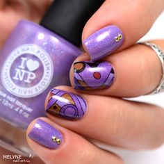 Charmingly ILNP Purple nails and geometric stamp