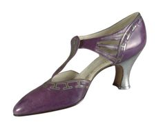 """""""Salomé"""" Casual Shoes, Hellstern and Sons, Patented, Paris: ca. 1920-1928, French, kid leather, metal/rhinestone button, leather sole, Louis XV heel covered in goatskin."""