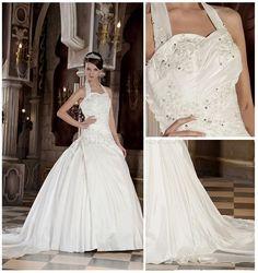 Strapless, Sweetheart Luxurious, Romantic Wedding Dresses (Taffeta, Chapel Train, Dropped) get pannier for free