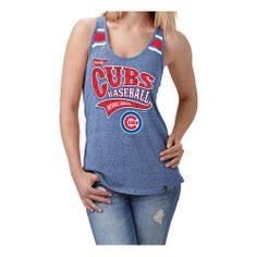 Chicago Cubs Royal Back Tri-Blend Tank Top Relaxed Scoop Neck Racer Back $26.95  @Chicago Cubs