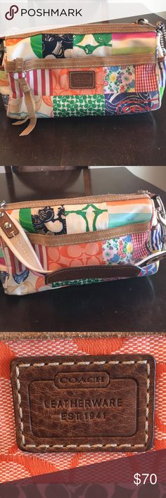 Coach multi patched purse This is a beautiful small sized Coach purse in perfect condition! May have been worn once and has just been sitting in my closet looking for a new home!  Love the bag and not the price? Make an offer Coach Bags Shoulder Bags