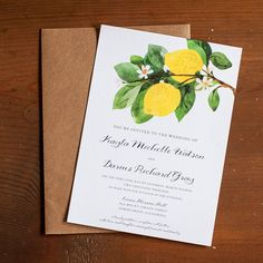 Rustic Wedding Invitations - The Lemon Branch - Vintage watercolor, lemons, blossom, lemon blossom, botanical, RSVP cards, insert