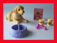 BARBIE DOLL DOLLHOUSE PET DOG BOBBLEHEAD PUPPY FOOD BOWL BONE ACCESSORY LOT ONLY