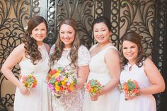 Loving how the bridal party of Katie decided all to use a different hair style for the wedding at Fiesta Americana. They all look amazing in their own way! Thank you www.suzannemorel.com! Photography by www.pinkpalmphoto.com