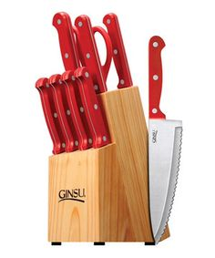 Shop for Ginsu Essential Series Stainless Steel Serrated Knife Set Cutlery Set With Red Kitchen Knives In A Natural Blo. Get free delivery On EVERYTHING* Overstock - Your Online Kitchen & Dining Outlet Store! Best Kitchen Knife Set, Best Kitchen Knives, Pots And Pans Sets, Red Kitchen, Kitchen Stuff, Kitchen Tools, Kitchen Gadgets, Kitchen Ideas, Steak Knives