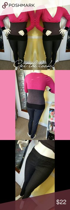 Bundle deal: Sweater and skinny jeans. Complete outfit: long sleeved v -neck sweater. Color: Fushia, grey and black. Size large, NWOT. Pull on skinny jeans, color black. Size: 12, worn once no signs of wear or tear. Jeans