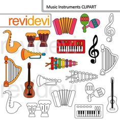 Music instruments clip art includes 10 colored graphics and 10 blackline images. Trumpet, accordion, small keyboard, xylophone, harpe, guitar, harp, are among the graphics. This collection is great for music class themed projects.Clipart resource for creating teachers pay teachers materials.This digital clipart set is great for teachers author seller.