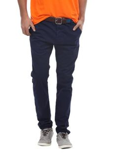 Breakbounce Men Dark Blue Vector Chino Trousers | Myntra via @Myntra.com