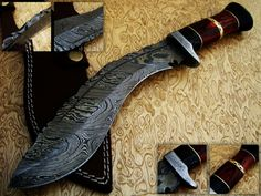 Item:11854001 Custom Damascus Kukri Style Knife 14.5 For Sale at GunAuction.com