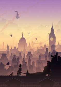 Mary Poppins over London