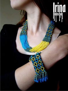This necklace is made out of Preciosa seed beads in blue and yellow colours. Like Ukrainian flag. Handmade. It is made using strong synthetic thread. With a metallic lobster clasp. Inner circumference: 51 cm (regulated)