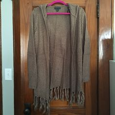 PLUS SIZE Worn once hooded sweater Grayish brown, taupe colored fringe hooded sweated. Looks great with jeans and high boots. Worn once. No buttons. No low ballers. Sweaters