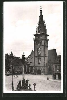old postcard: AK Komotau / Chomutov, Dekansky kostel, Socha sv. Trojice