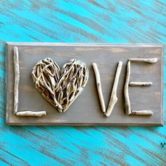 Creative Letter Art - Personalized Framed Name Sign with Neon Alphabet Photographs including Driftwood Self Standing Frame - Driftwood 4 Us Twig Crafts, Beach Crafts, Rock Crafts, Nature Crafts, Driftwood Projects, Driftwood Art, Driftwood Signs, Driftwood Ideas, Twig Art