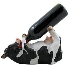 Drinking Cow Wine Bottle Holder Statue in Country Farm Kitchen Bar Decor Wine Stands  Racks and Decorative Animal Sculpture Gifts for Farmers ** To view further for this item, visit the image link.