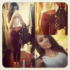 Outfit, high waisted skinny jeans, spike necklace, style, studded bag