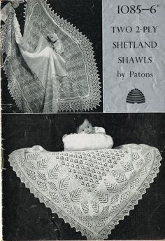 Patons 1085 knitted Square baby shawl shetland lace by Ellisadine, £1.00