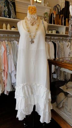 Tina Givens Selena Dress in White. This makes a great layering piece!  fb.com/mimibellafinelinenwear