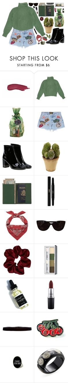 """""""Untitled #693"""" by metalhippieprincess ❤ liked on Polyvore featuring Yves Saint Laurent, Rosemira, MadeWorn, Nearly Natural, Royce Leather, Tiffany & Co., Clinique, MAC Cosmetics, Steve Madden and OBEY Clothing"""