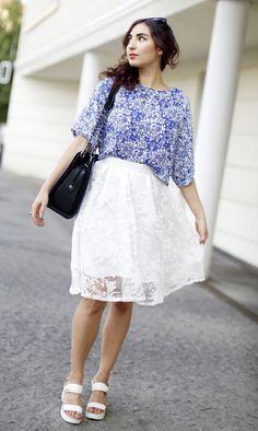 white shadow floral midi