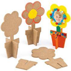 Lot de 3 Fleurs 3D en Bois à assembler et à personnaliser - Idéal comme cadeau de Fête des mères