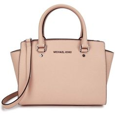 Womens Shoulder Bags Michael Kors Selma Medium Blush Leather Tote ($405) ❤ liked on Polyvore featuring bags, handbags, tote bags, bags/purses, michael kors tote, pink leather purse, leather zip tote, michael kors purses and handbags totes