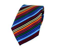 Multi Coloured Stripe Luxury Silk Tie