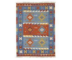 Covor Kilim Macario Blue 125x185 cm - Vivre.ro Orange Rugs, Kilims, Home Furnishings, Bohemian Rug, Area Rugs, Interior Decorating, Objects, Wool, Modern