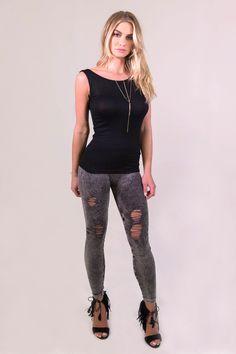 34d2421727 NikiBiki Vintage Ripped Leggings - Charcoal