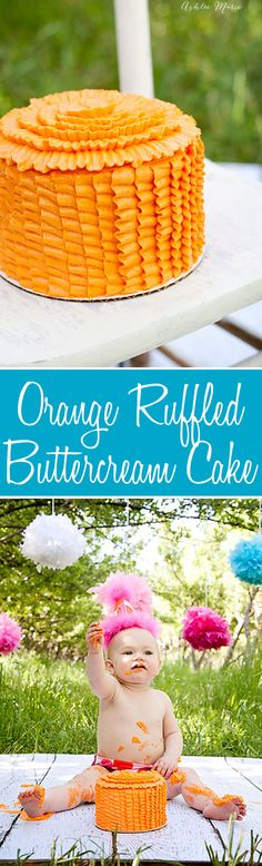 I love ruffles in buttercream, and they make such a pretty cake for babies to destroy on their birthdays